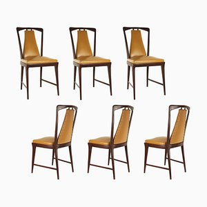 Light Brown Skai and Wood Dining Chairs from Attilio e Arturo Fossati, 1940s, Set of 6