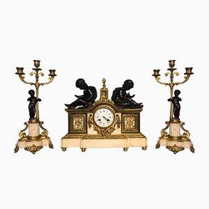 Antike französische Uhren aus Marmor, Bronze & Ormolu-Vergoldung, 3er Set