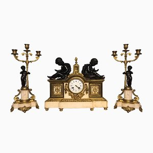 Antique French Marble, Bronze & Ormolu Clocks, Set of 3