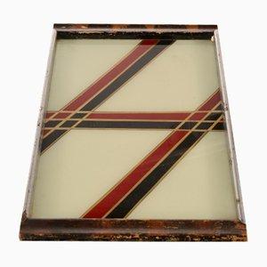 Tablett aus Holz & Chrom, 1960er