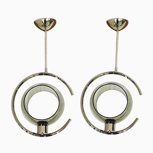 Mid-Century Space Age Metal & Chrome Ceiling Lamps, Set of 2