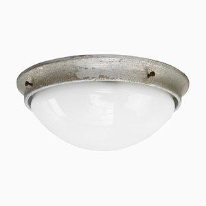 Lámpara de techo industrial vintage de vidrio opalino blanco