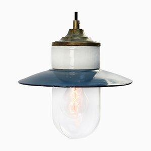 Blau emaillierte industrielle Vintage Hängelampe aus Messing, Porzellan & Klarglas