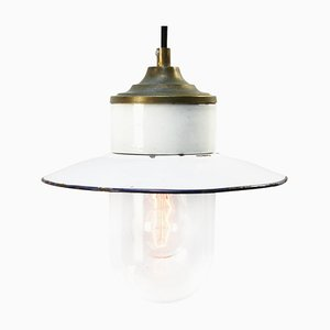 Lampe à Suspension Industrielle Vintage en Laiton Émaillé Blanc, Porcelaine et Verre Transparent
