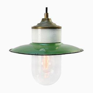 Lampe à Suspension Industrielle Vintage en Laiton Émaillé Vert, Porcelaine et Verre Transparent