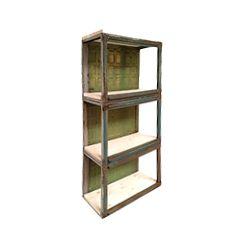 German Industrial Metal and Pine Kitchen Shelf