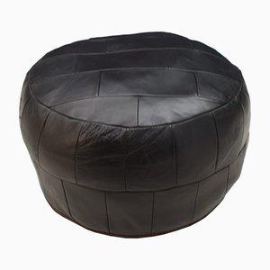 Puf vintage de cuero negro, años 60