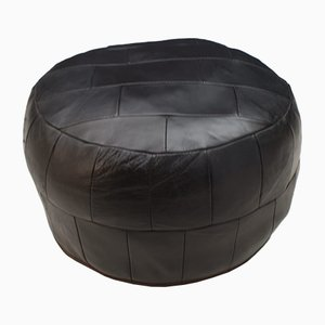Vintage Black Leather Patchwork Pouf, 1960s