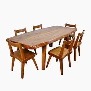 Mid-Century Elm Dining Table & Chairs Set, Set of 7