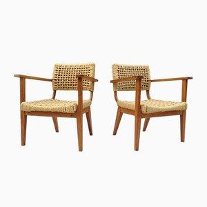 Model Bridge Lounge Chairs by Adrien Audoux & Frida Minet, 1950s, Set of 2