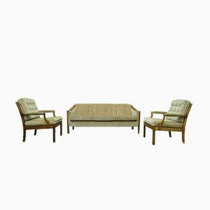 Scandinavian Teak & Velvet Living Room Set, 1960s