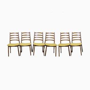 Deutsche Esszimmerstühle aus Nussholz, 1960er, 6er Set