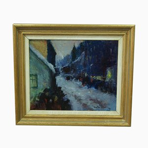 French Impressionist Oil Painting, 1950s