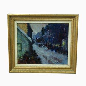 Pintura al óleo francesa impresionista, años 50