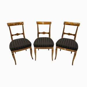 19th Century Biedermeier German Dining Chairs, Set of 3