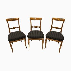 19th Century Biedermeier German Dining Chairs, Set of 3