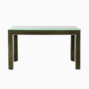 Vintage Suede & Steel Console Table