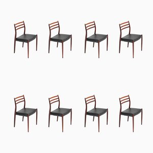 Rosewood 78 Dining Chairs by Niels Otto Møller for J.L. Møllers, 1954, Set of 8