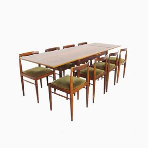Dining Table & Chairs, 1960s, Set of 9