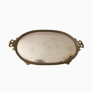 Antikes Tablett aus Messing & Spiegel aus Silberglas