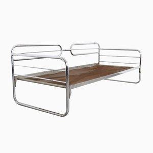 Dormeuse Bauhaus in acciaio tubolare in metallo cromato, anni '30