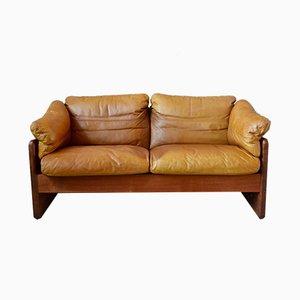 Sofá de cuero y teca de A / S Mikael Laursen, años 60