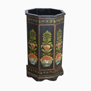 Painted Wooden Waste Paper Bin, 1940s