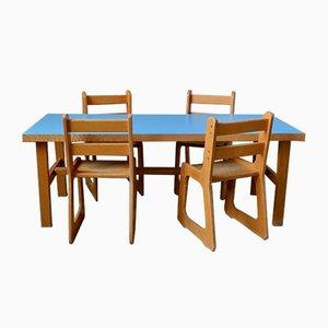 Juego de silla y mesa infantil, años 60