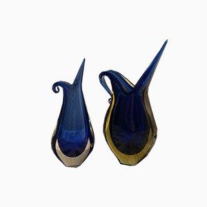 Murano Vasen von Flavio Poli für Sommerso, 1960er, 2er Set
