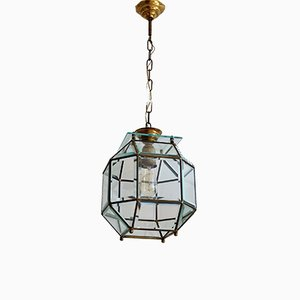 Italian Brass & Cut Glass Ceiling Lamp, 1950s