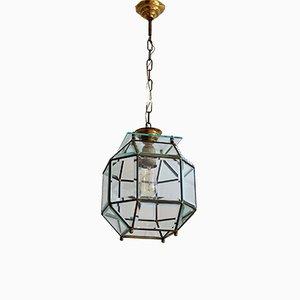 Lámpara de techo italiana de latón y cristal tallado, años 50
