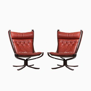 Leather Lounge Chairs by Sigurd Ressell for Vatne Møbler, 1970s, Set of 2