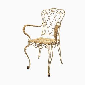 Antiker französischer Gartenstuhl aus Eisen im Jugendstil