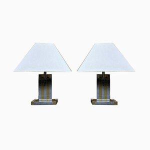 Lámparas de mesa vintage de cromo y latón de Willy Rizzo para Lumica. Juego de 2