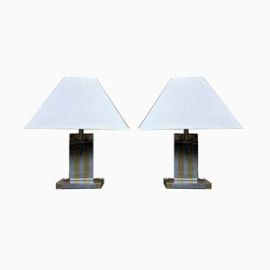 Vintage Brass & Chrome Table Lamps by Willy Rizzo for Lumica, Set of 2
