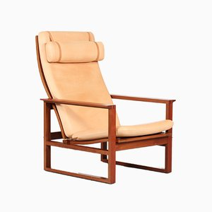 Leather & Mahogany 2254 Lounge Chair by Børge Mogensen for Fredericia, 1994