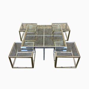 Mesas nido francesas vintage de metal cromado y latón de Maison Charles