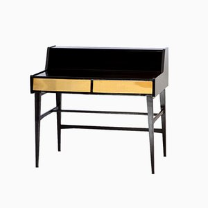 Italian Modern Desk with Brass Drawers, 1950s