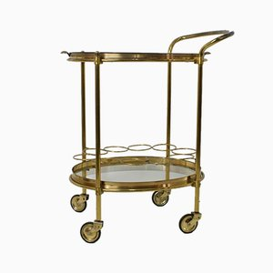 Mid-Century Brass & Glass Bar Trolley