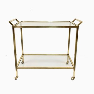 Mid-Century Smoked Glass and Brass Bar Cart, 1970s