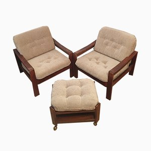 Mid-Century Armchairs & Stool, Set of 3