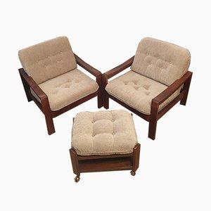 Mid-Century Armchairs & Stool, Set of 3