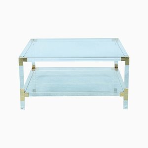 Glass & Lucite Coffee Table, 1970s