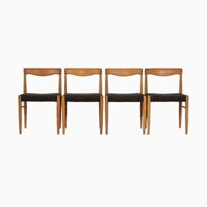 Esszimmerstühle aus Eiche von H. W. Klein für Bramin, 1970er, 4er Set