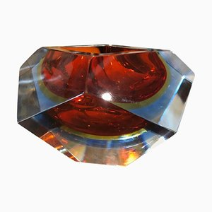 Faceted Murano Glass Sommerso Ashtray from Seguso, 1970s