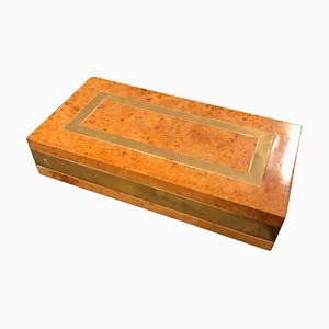 Mid-Century Elm and Brass Box by Romeo Rega, 1970s