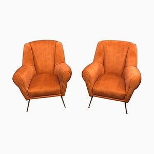 Butacas Mid-Century de latón y terciopelo naranja, años 60. Juego de 2