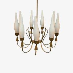 Lámpara de araña Mid-Century de latón y vidrio de Arredoluce