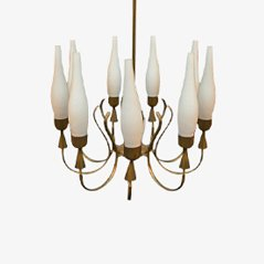 Mid Century Chandelier in Brass & Glass from Arredoluce