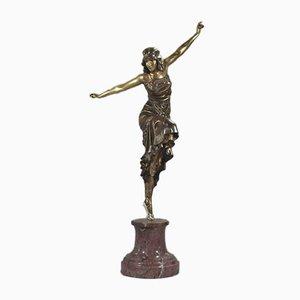 Art Deco Bronze Tänzerin Skulptur von Paul Philippe, 1920er